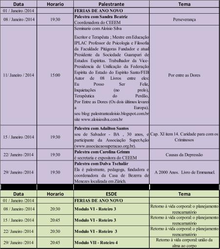 Agende de eventos de Janeiro